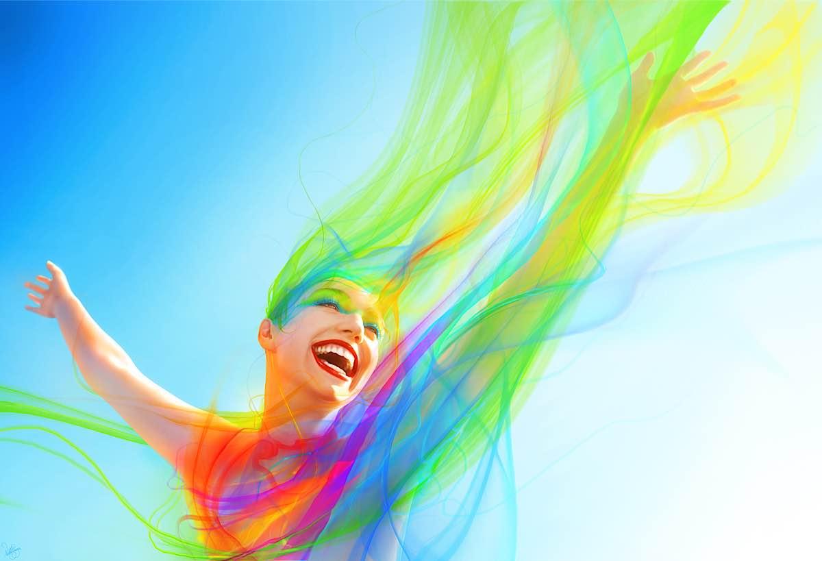 donna felice colorata